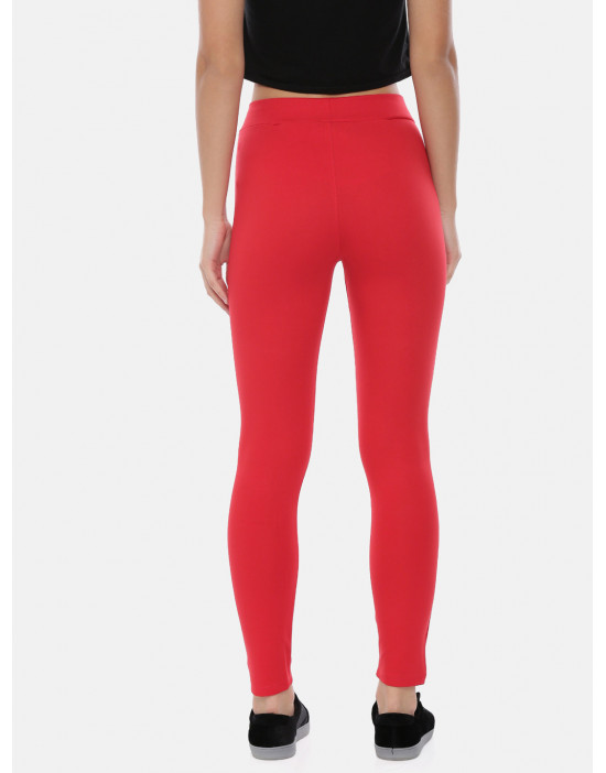Womens Red Solid Regular...