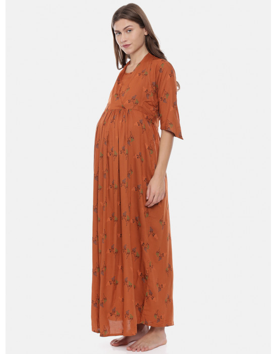 Womens Rust Color Printed...