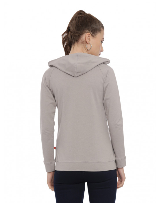 Womens Grey Color Solid Hoodie