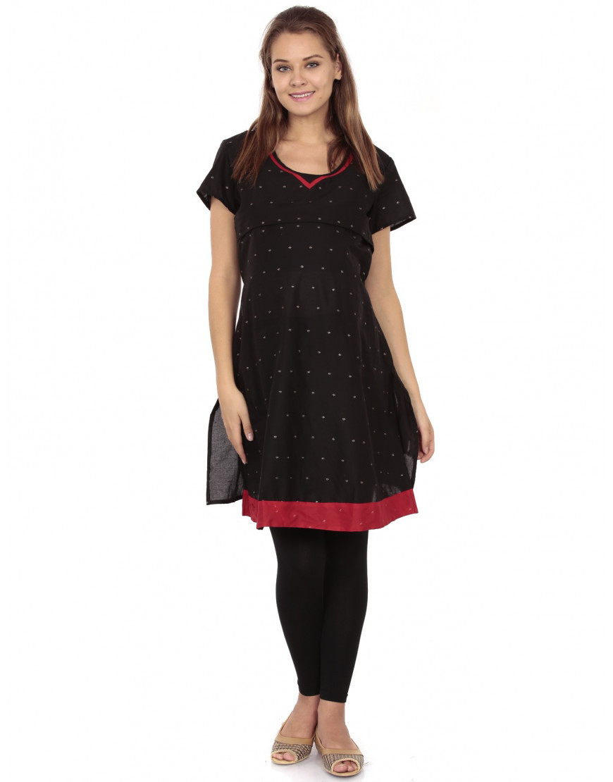 Women Maternity Nursing Printed Kurti with Horizontal Zipper