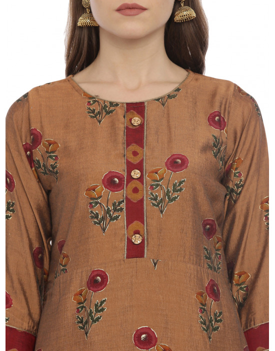 Womens Brown color Printed...