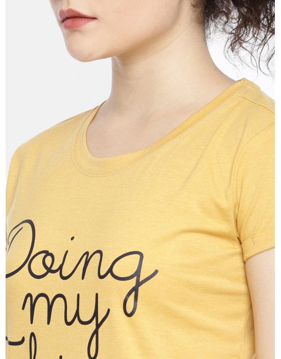 Womens Yellow Color Printed...