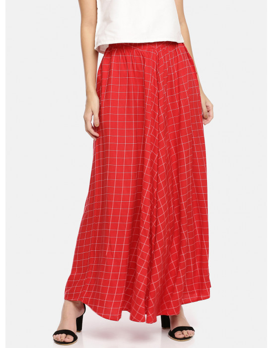 Womens Red & White Checked...