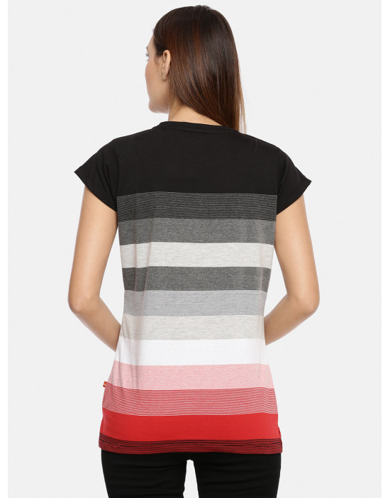 Women's Black & Red Striped...