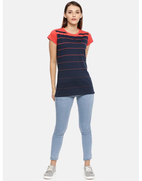 Women's Red & Navy Striped...