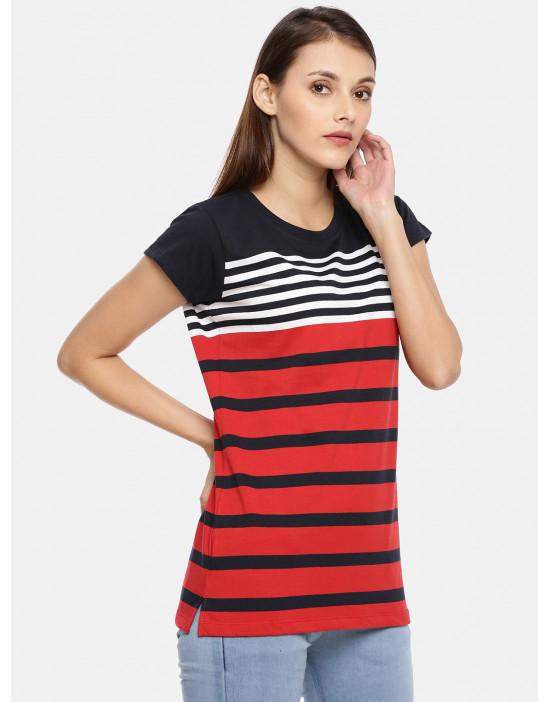 Women's Navy & Red Striped...