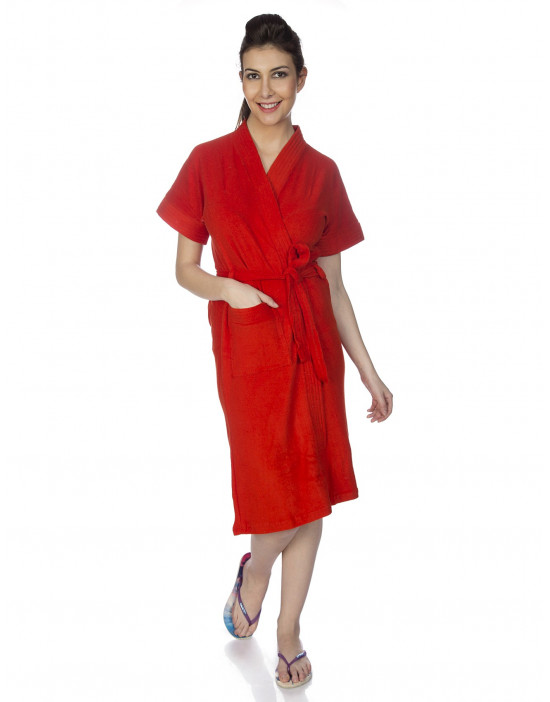 Women's Turkish Cotton Plain Bathrobe - Goldstroms