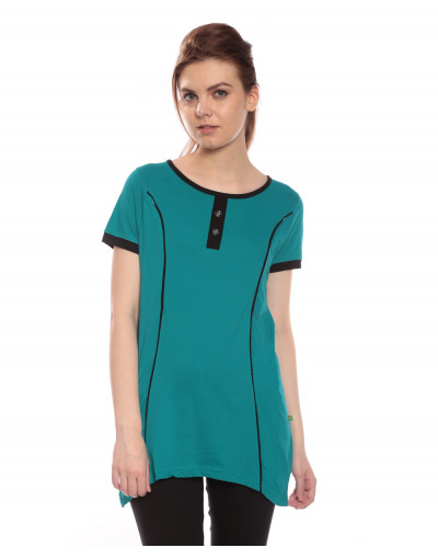 Women's Long Maternity Tee with Vertical Zipper - Goldstroms