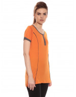 Long Maternity Nursing Tee with Vertical Zipper