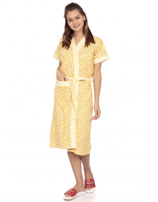 Women's Turkish Cotton Printed Bathrobe