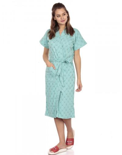 Women's Turkish Cotton Gown With Loop Belt & Pocket - Goldstroms