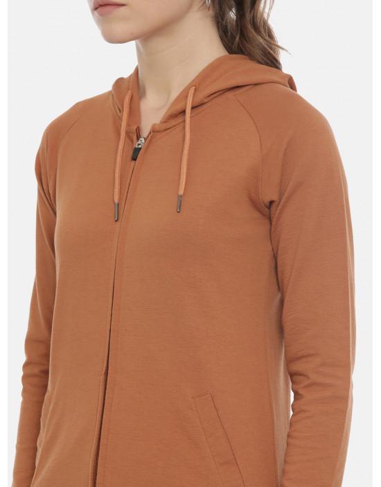 Womens Rust Color Solid Hoodie