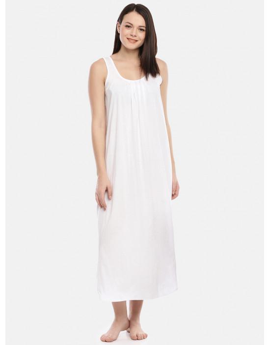 Womens White Color Cotton...