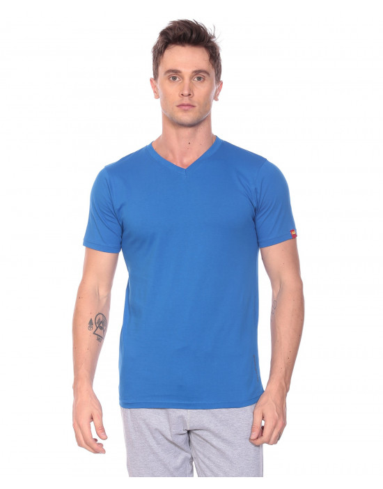 Men's V-Neck Plain Solid and Half Sleeve Tshirt - Goldstroms