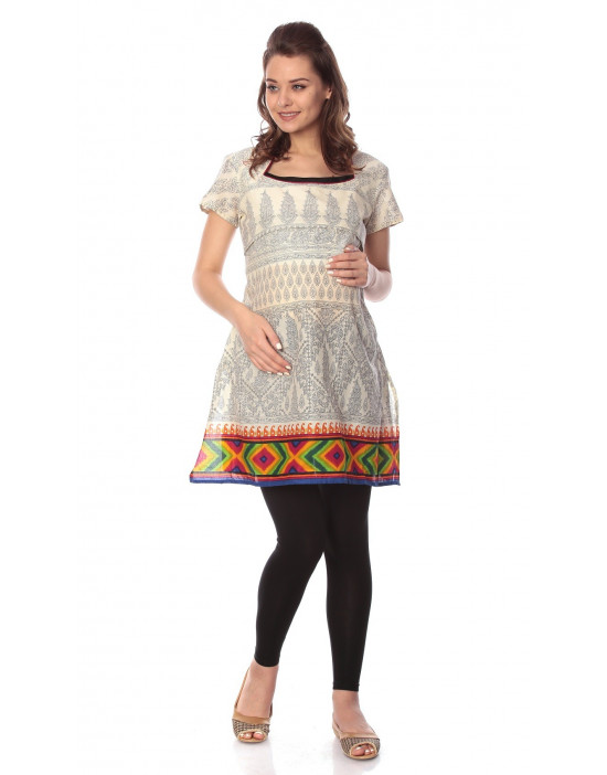 Women's Multicolor Maternity Kurti with Horizontal Zipper - Goldstroms
