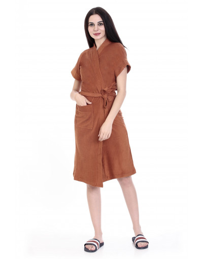Women's Turkish Cotton Plain Bathrobe With Pocket - Goldstroms