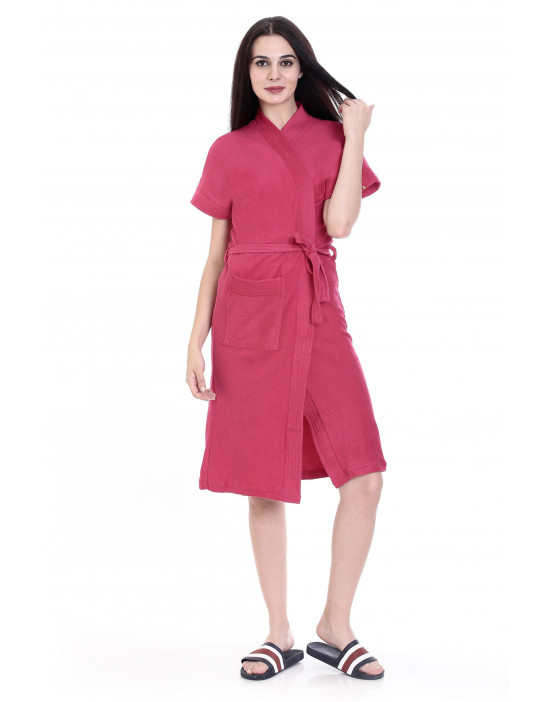 Women's Cotton Gown With Pocket & Robe  - Goldstroms
