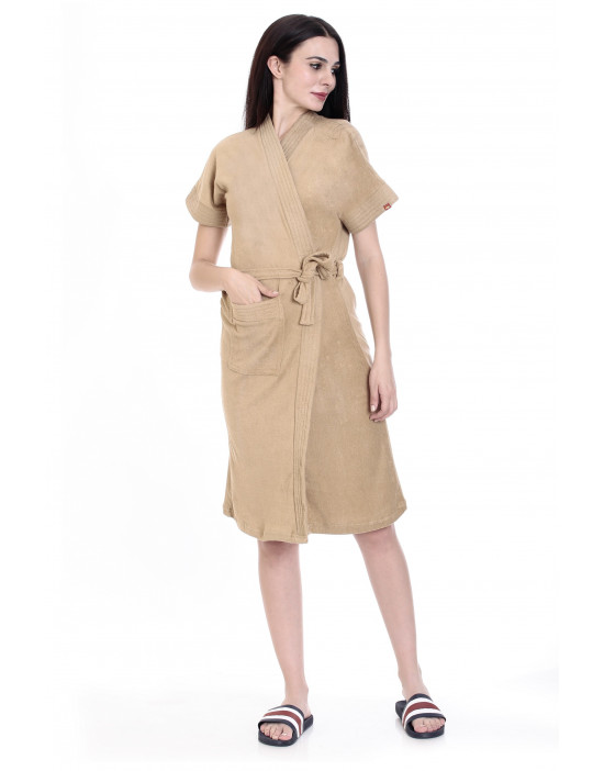 Women's Cotton Gown With Two Loop Belt & Pocket - Goldstroms