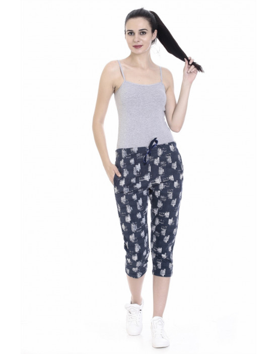 Women's Slim Fit Printed Capri with Zipper Pockets - Goldstroms