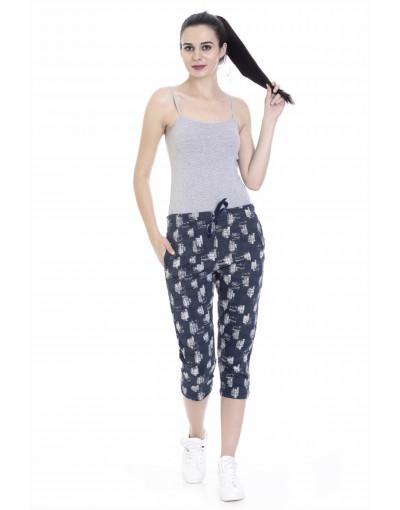 Women's Slim Fit Printed Capri with Zipper Pockets - Goldstroms