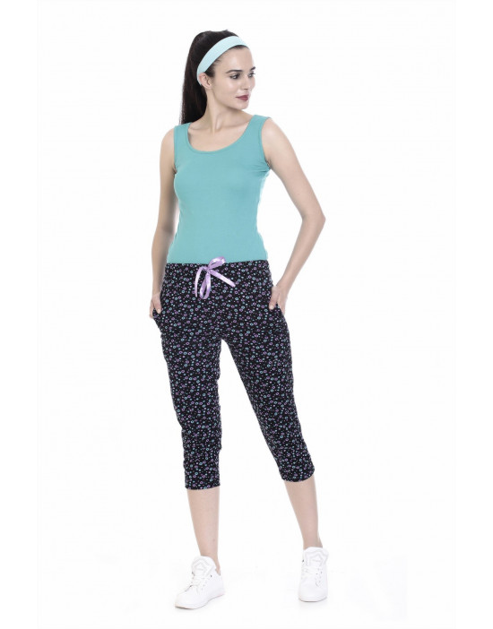 Women's Thick Waist Band Capri with Zipper Pockets - Goldstroms