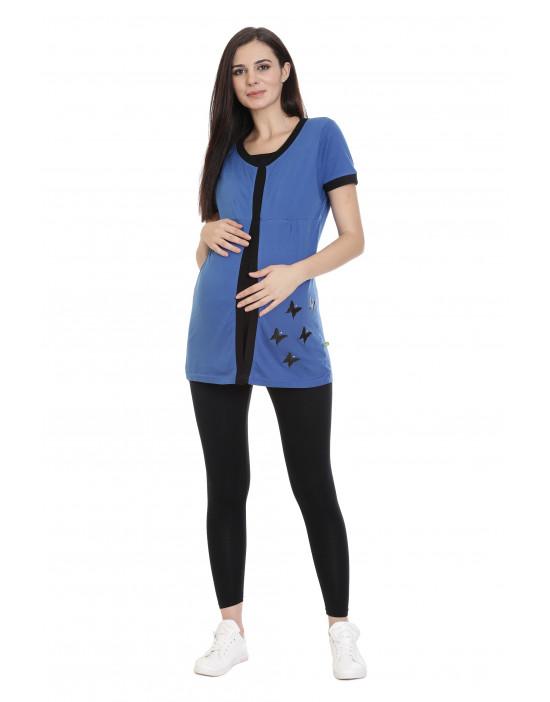 Women's Maternity Tee with Hidden Zipper Under Flap - Goldstroms
