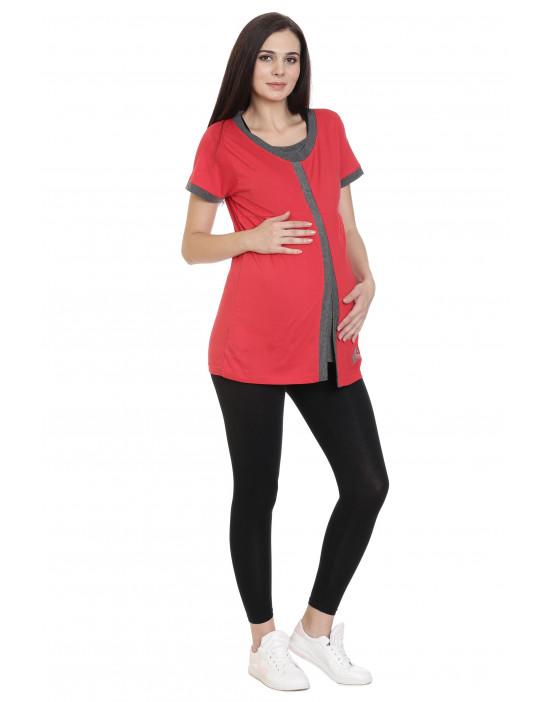 Maternity/Feeding/Nursing Tee with Hidden Zipper Under Flap