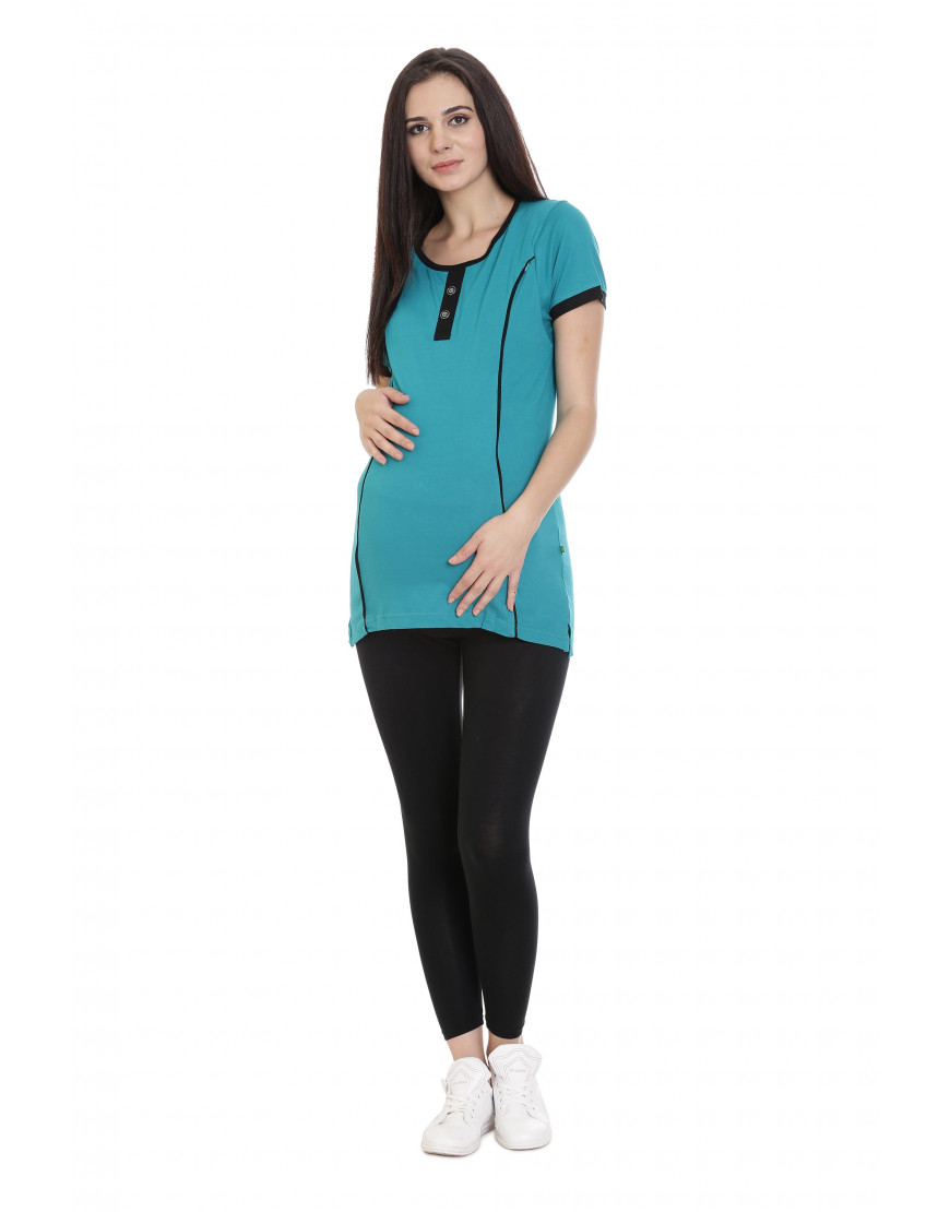 Long Maternity/Feeding/Nursing Tee with Vertical Zipper