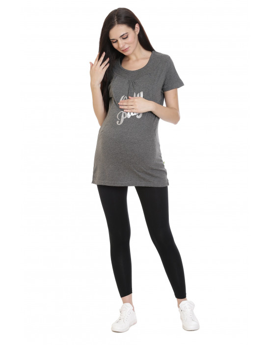 Women's Long Maternity Tee With Hidden Vertical Zipper - Goldstroms