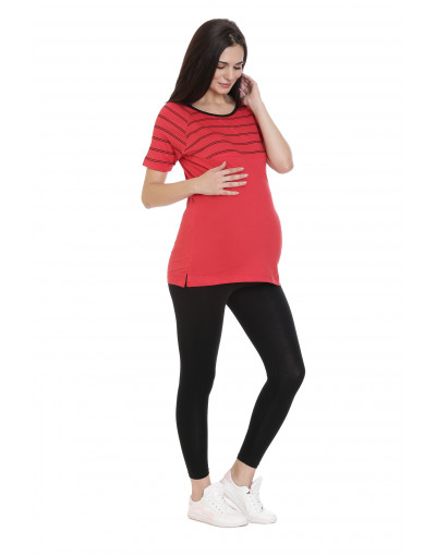 Long Maternity/Feeding/Nursing Tee with Horizontal Zipper