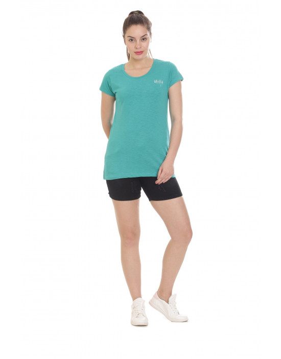 Women's Yoga Wear Solid Slub Cotton T-Shirt - Goldstroms