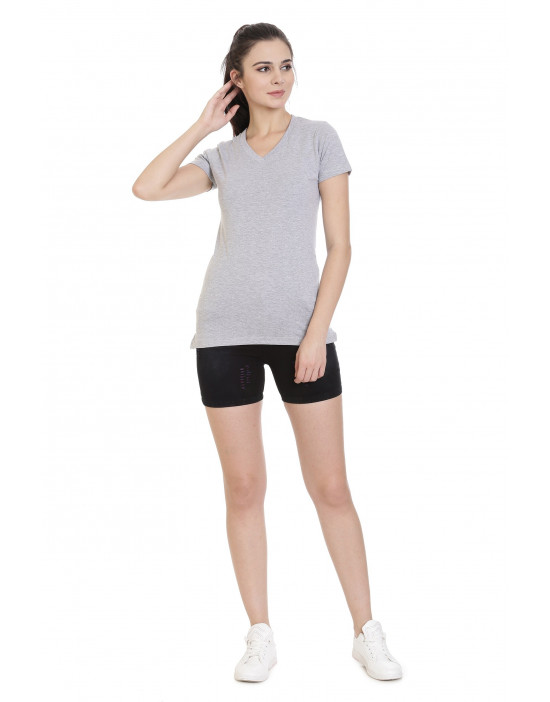 Women's Sports Wear V-Neck Plain T-Shirt - Goldstroms