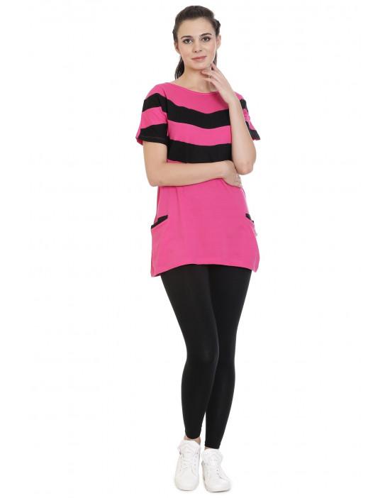 Women's Casual Long Yoga Wear Tee with Pockets - Goldstroms