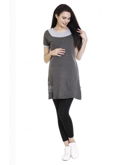 Super Long Maternity Tee With Vertical Zipper - Goldstroms