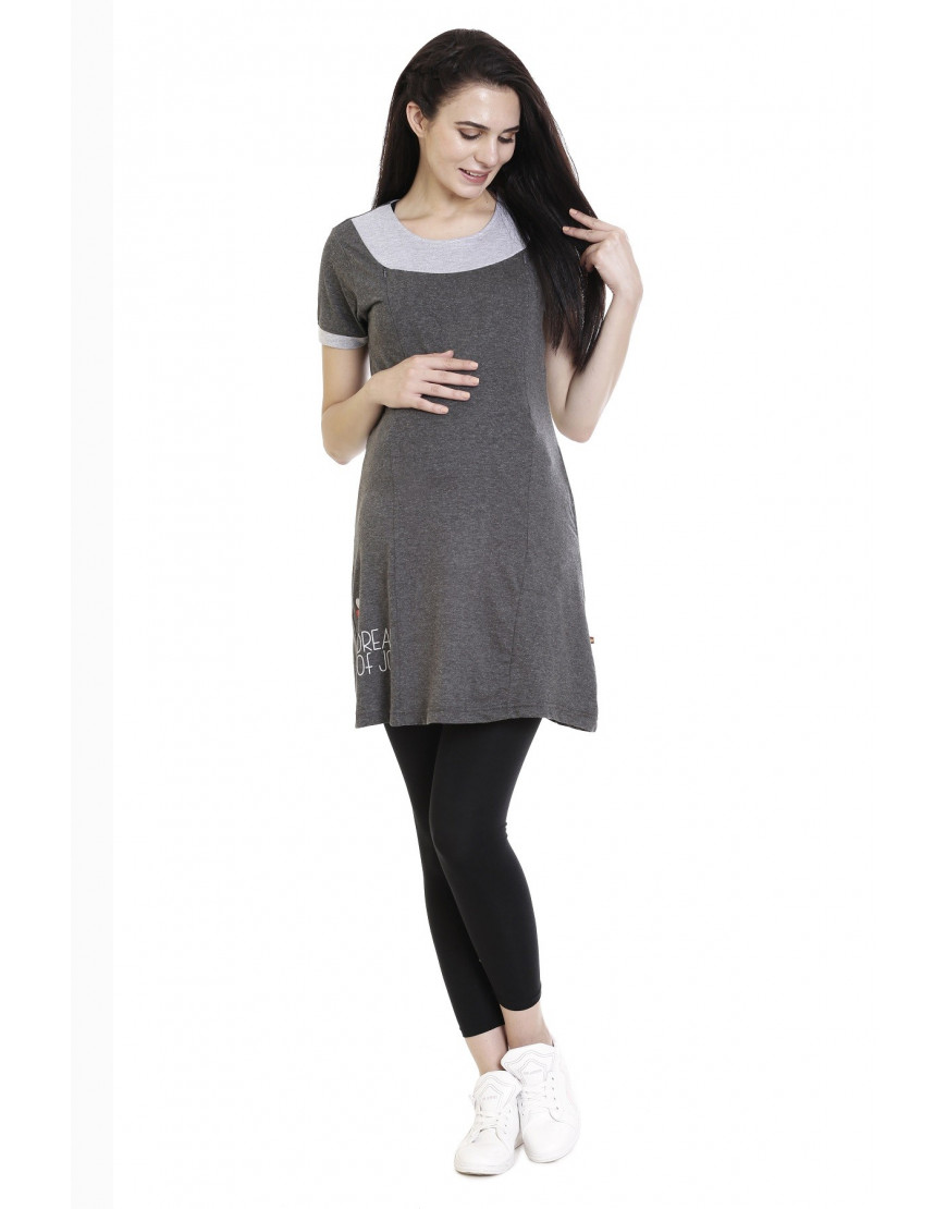 Super Long Maternity/Feeding/Nursing Tee with Vertical Zipper and Side Pocket