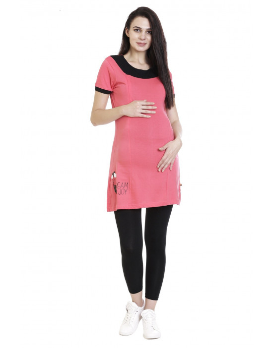 Super Long Maternity Tee With Vertical Zipper,Side Pocket - Goldstroms