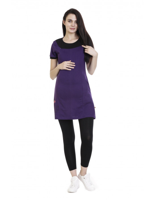 Women's Super Long Feeding Tee With Vertical Zipper - Goldstroms