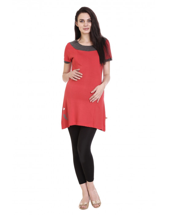 Super Long Nursing Tee With Vertical Zipper,Side Pocket - Goldstroms