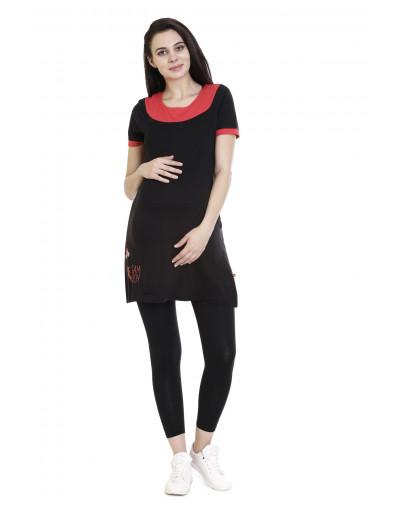 Women's Maternity Tee With Vertical Zipper & Side Pocket - Goldstroms