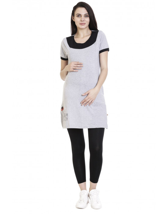 Super Long Feeding Tee With Side Pocket - Goldstroms