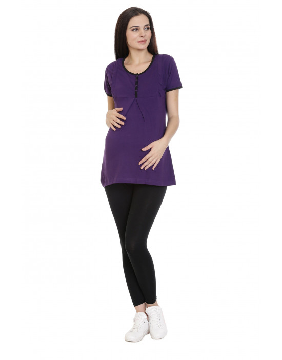 Round Neck Long Nursing Tee with Hidden Vertical Zipper - Goldstroms