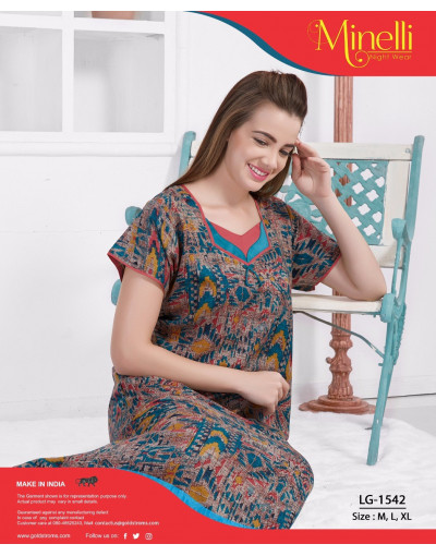 SweetHeart Neck Design Printed Alpine Nighty - Goldstroms