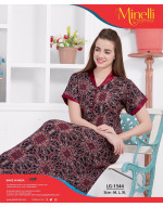 V-Neck with Front Top Button Printed  Alpine Nighty