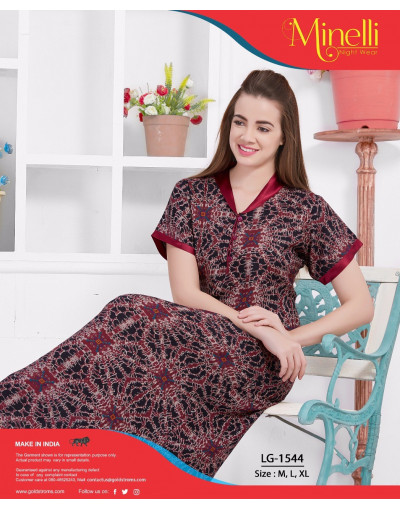 V-Neck with Front Top Button Printed Alpine Nighty - Goldstroms