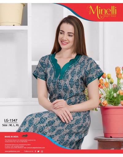 Women's SweetHeart Neck Design Soft Apline Nighty - Goldstroms