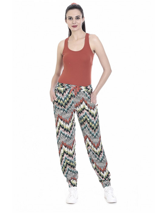 Womens Printed Harem Pant Slim Fit Style with Bottom Grip - Goldstroms