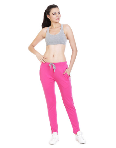 Womens Solid Sports Track Pant/Jogger with Zipper Pocket - Goldstroms