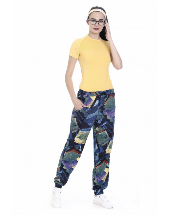 Womens Printed Harem Pant Slim Fit with Bottom Grip - Goldstroms