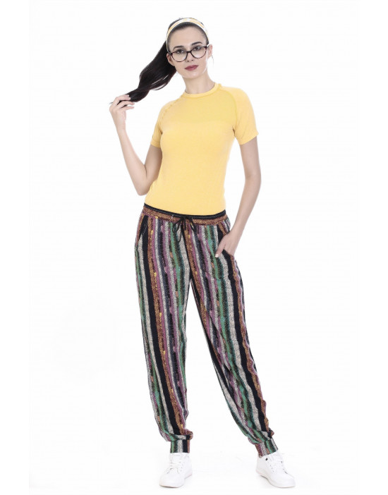 Women's Slim Fit Printed Harem Pant With Bottom Grip - Goldstroms