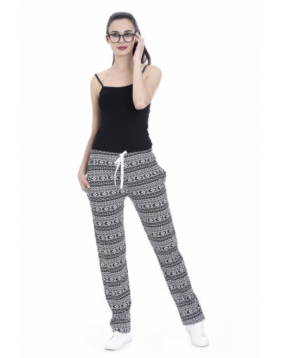 Women Cotton Rayon Fabric Pajama with Zipper Pockets